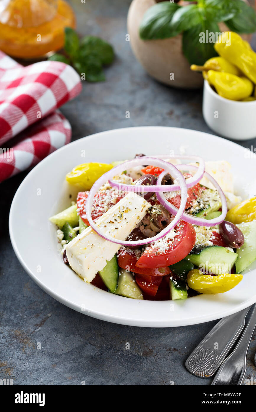 Greek salad with fresh vegetables and feta Stock Photo