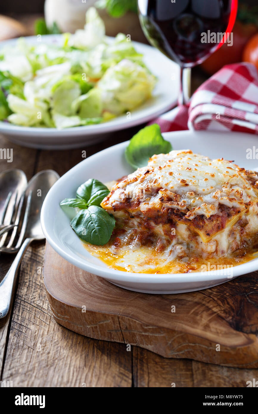 Traditional lasagna with bolognese sauce - Stock Image