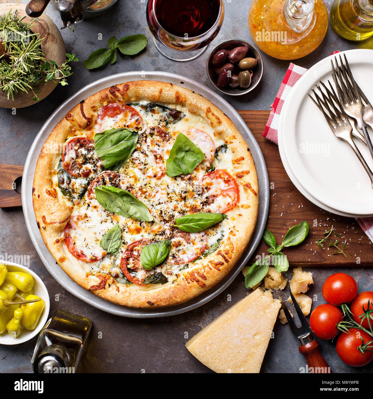 Margherita pizza with basil - Stock Image