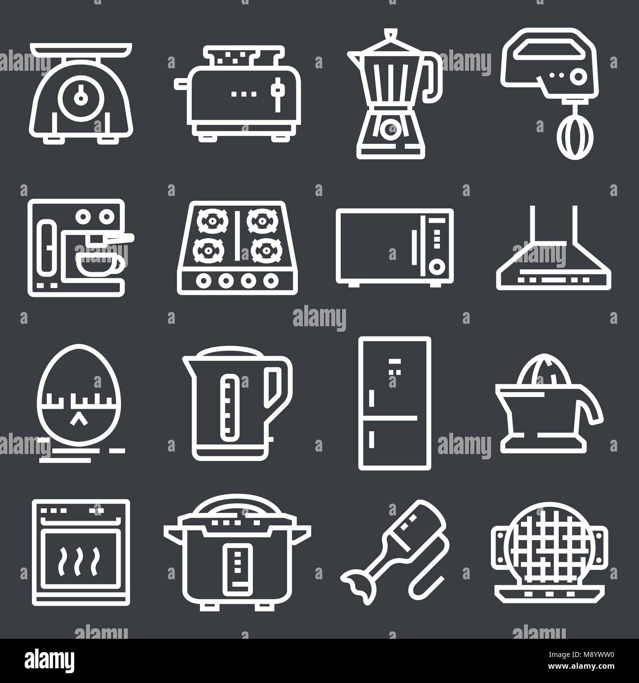 Simple Set of Kitchen Appliances Related Vector Line Icons. - Stock Image