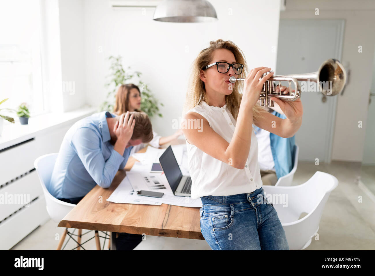 Business break rest and weekend concept with working hours ending - Stock Image