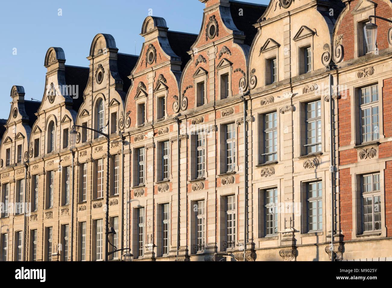 Flemish style facades on Place des Heros, Arras, Pas-de-Calais, Hauts-de-France region, France, Europe - Stock Image