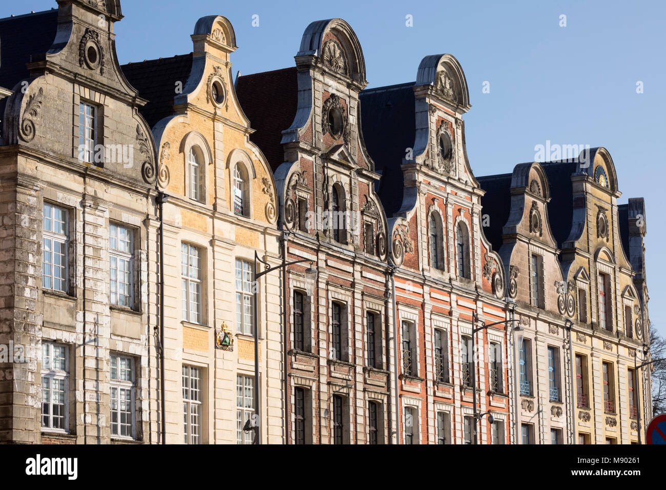 Flemish style facades on Grand Place, Arras, Pas-de-Calais, Hauts-de-France region, France, Europe - Stock Image