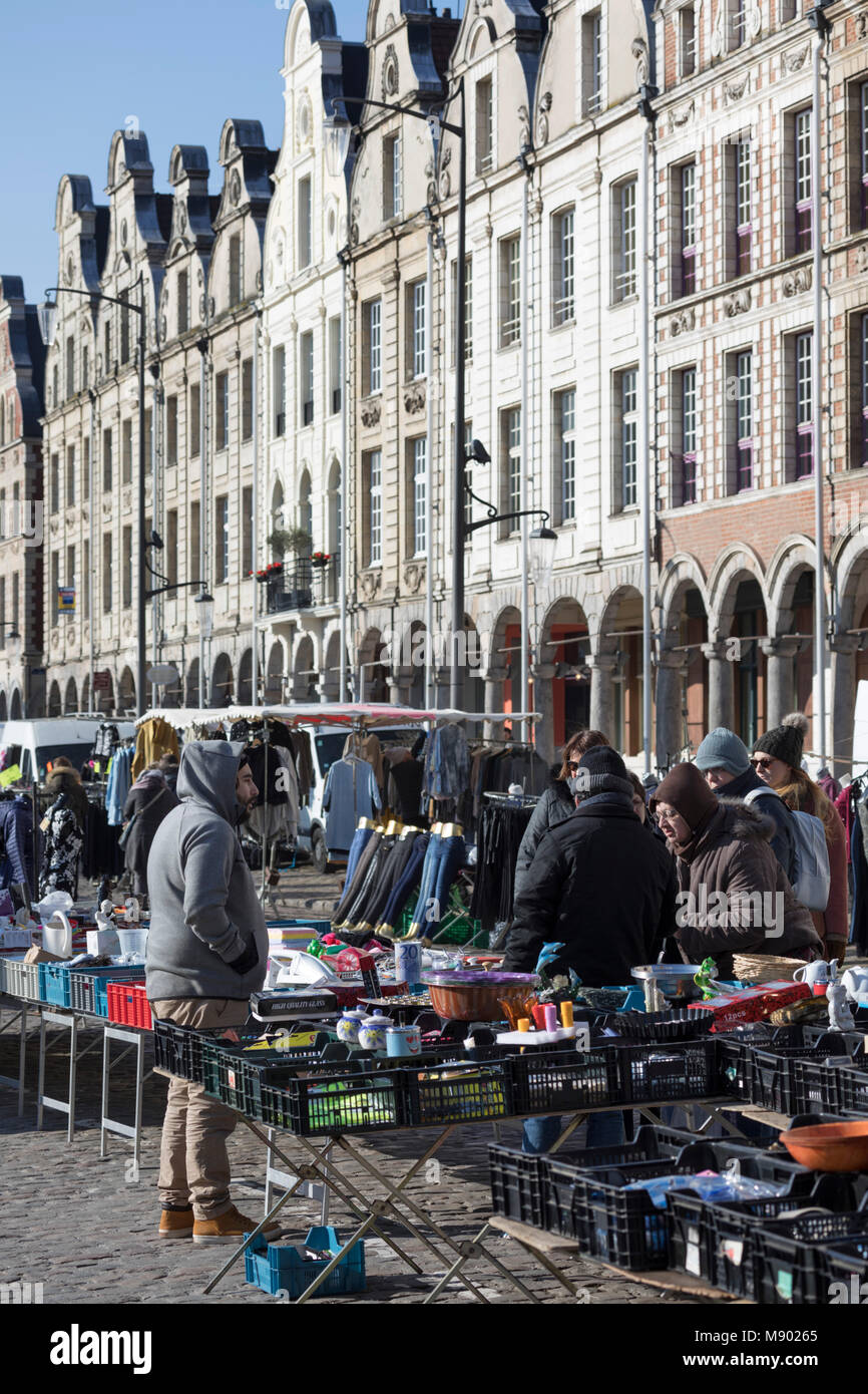Saturday outdoor market in the Grand Place, Arras, Pas-de-Calais, Hauts-de-France region, France, Europe - Stock Image