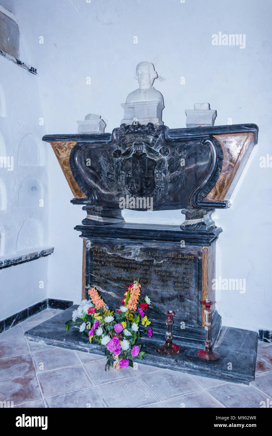 Macharaviaya, Málaga, Spain.  The Galvez family crypt.  Tomb of Bernardo Vicente de Gálvez y Madrid, Viscount - Stock Image