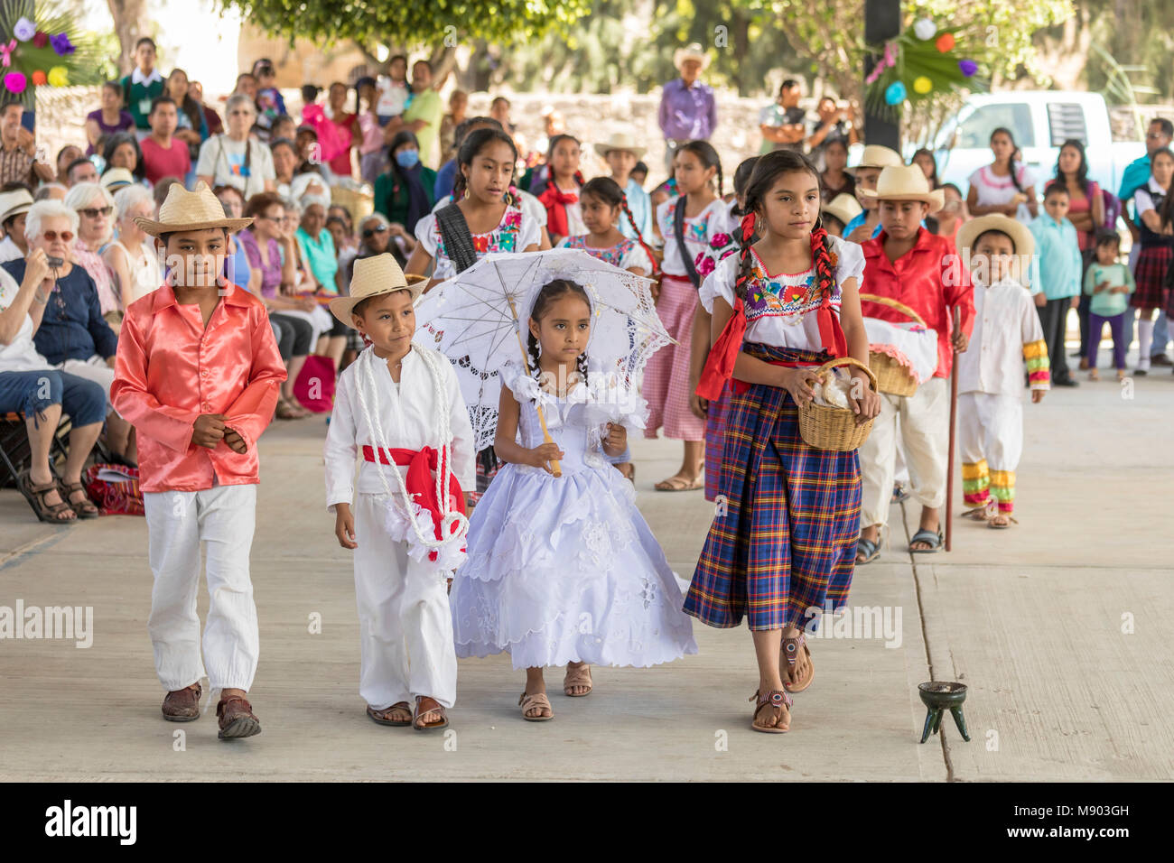 San Juan Teitipac, Oaxaca, Mexico - Children perform a pretend wedding during the town's Linguistic and Heritage - Stock Image