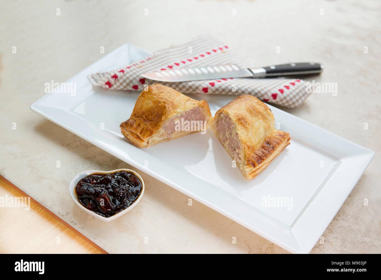 Pork and Apple Sausage Roll - Stock Image