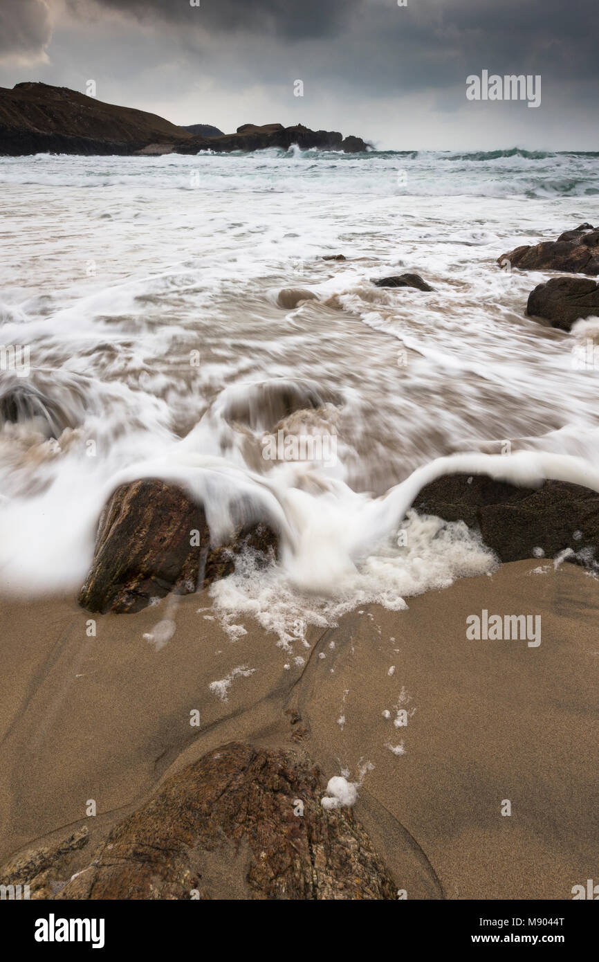 Atlantic storm beach at Mangursta on the Isle of Lewis in the Outer Hebrides. - Stock Image