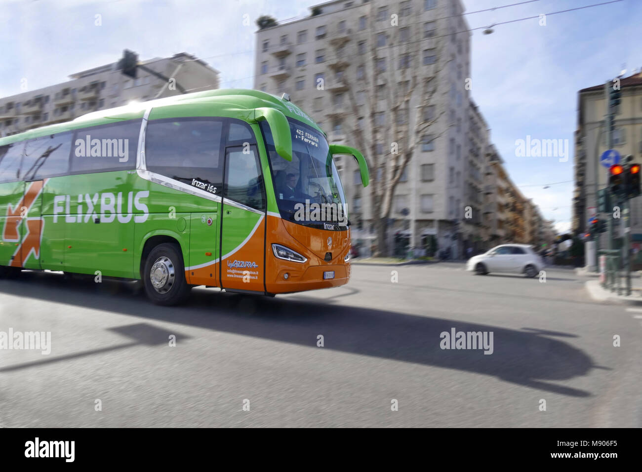 Flixbus long distance bus brand to all european destinations Turin Italy March 14 2018 panning effect - Stock Image