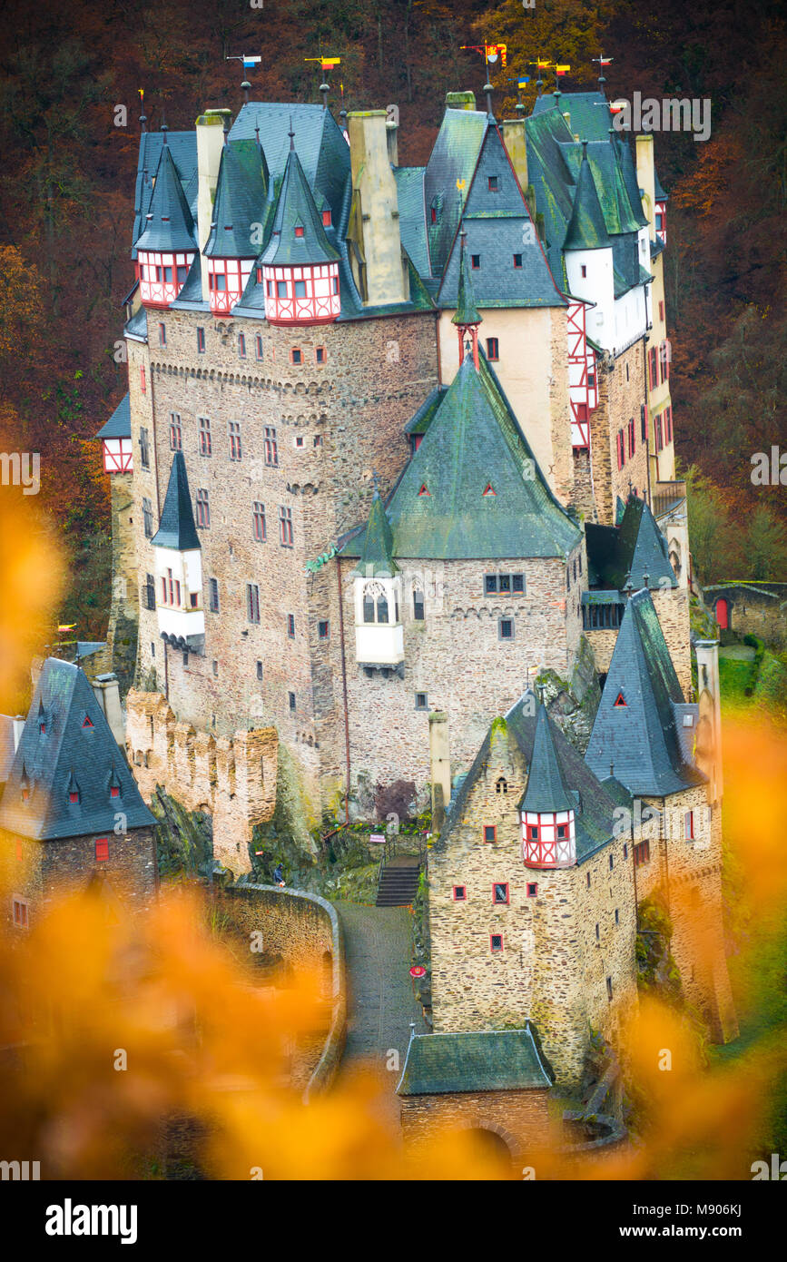 Autumn view of the Burg Eltz, medieval castle  near Cochem, Germany - Stock Image