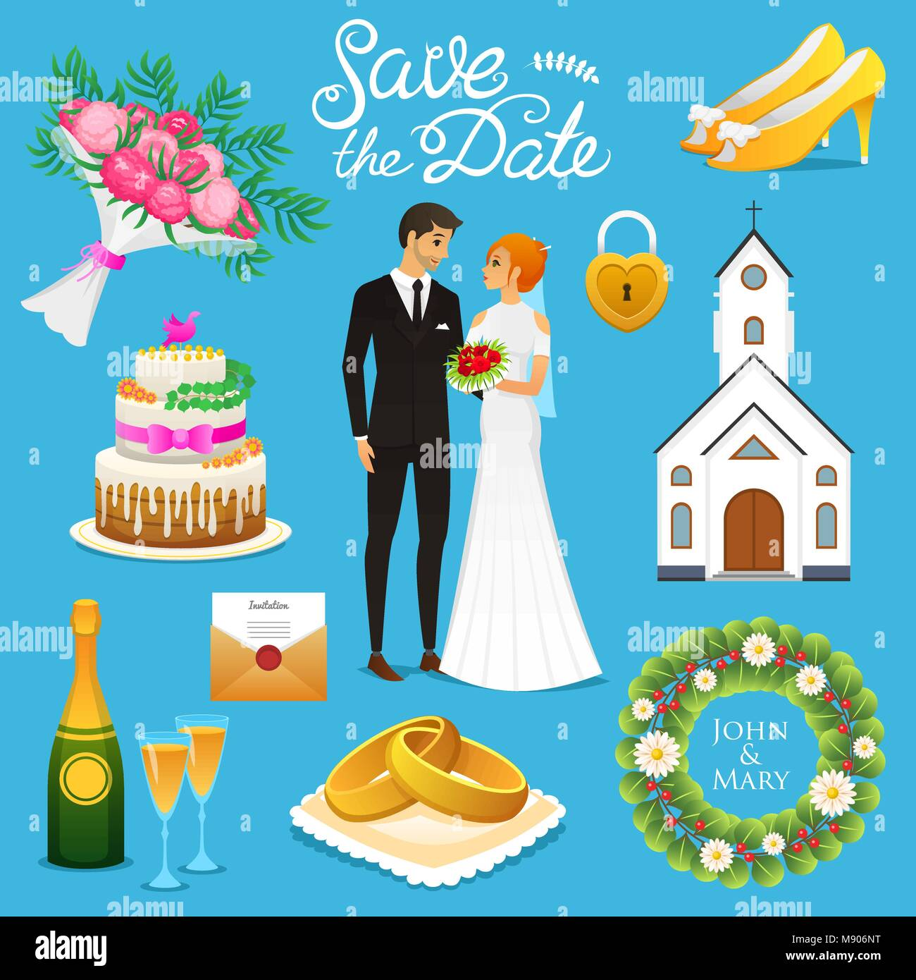 Bride And Groom Wedding Ceremony Set Newlyweds Icons Vector Stock