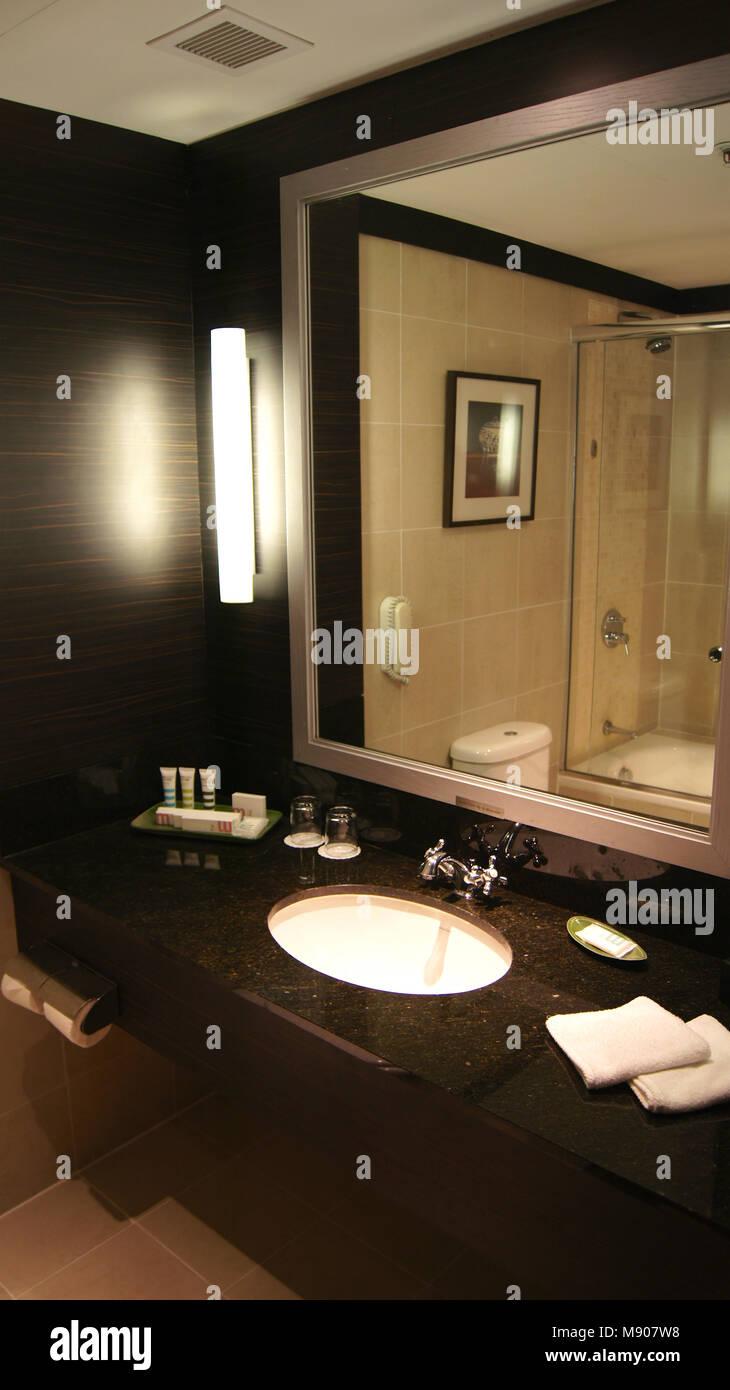 Singapore Apr 2nd 2015 Modern Dark Bathroom Interior Design In A Stock Photo Alamy