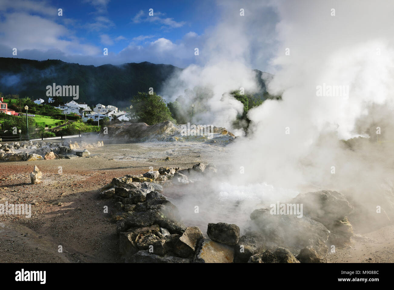 Volcanic activity with boiling mud and water at Furnas. São Miguel, Azores islands. Portugal - Stock Image