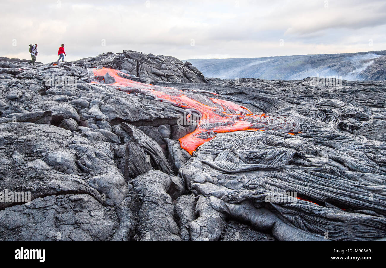View of lava flows at Kilauea volcano - Stock Image