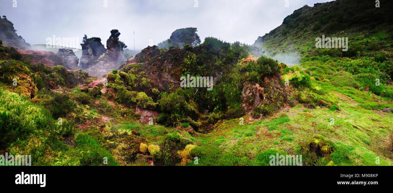 Furnas do Enxofre, a protected site with volcanic activity. Terceira, Azores islands, Portugal - Stock Image