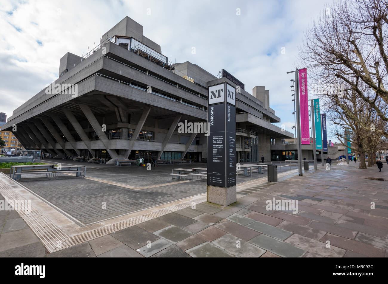 The national theatre on the south bank of the river thames in central London. Famous entertainment establishment - Stock Image