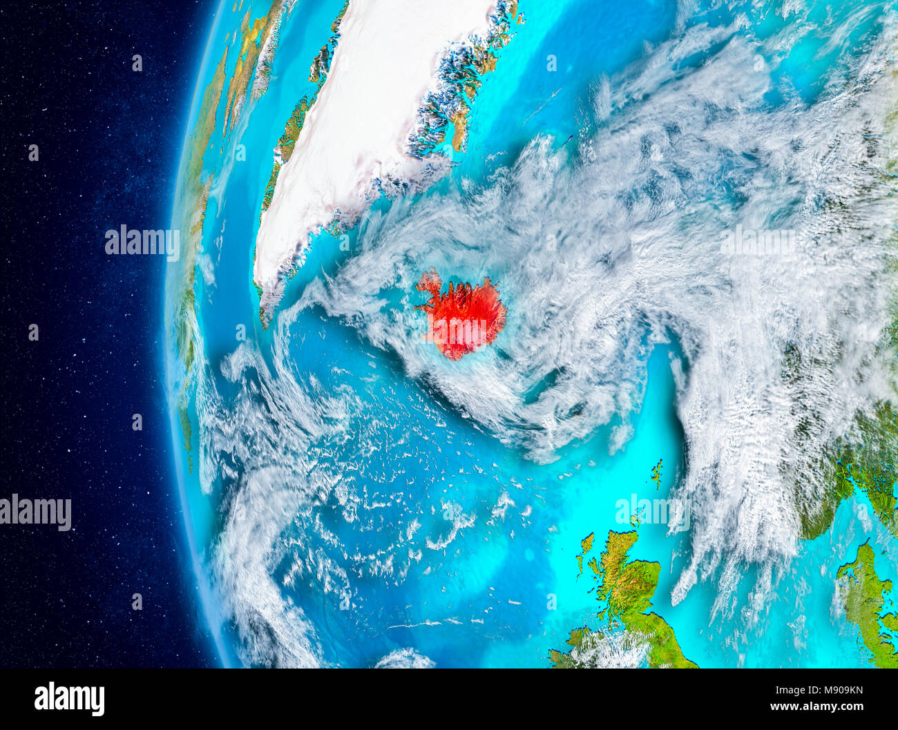 Iceland on globe stock photos iceland on globe stock images page map of iceland as seen from space on planet earth with clouds and atmosphere 3d gumiabroncs