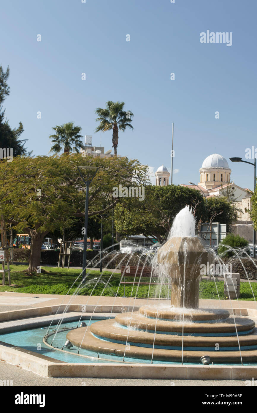 Fountain in park near Molos promenade in Limmasol old town, cyprus, Mediterranean - Stock Image