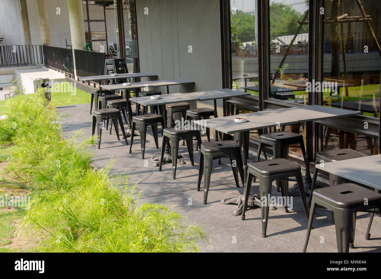Chairs And Tables Outside The Coffee Shop   Stock Image