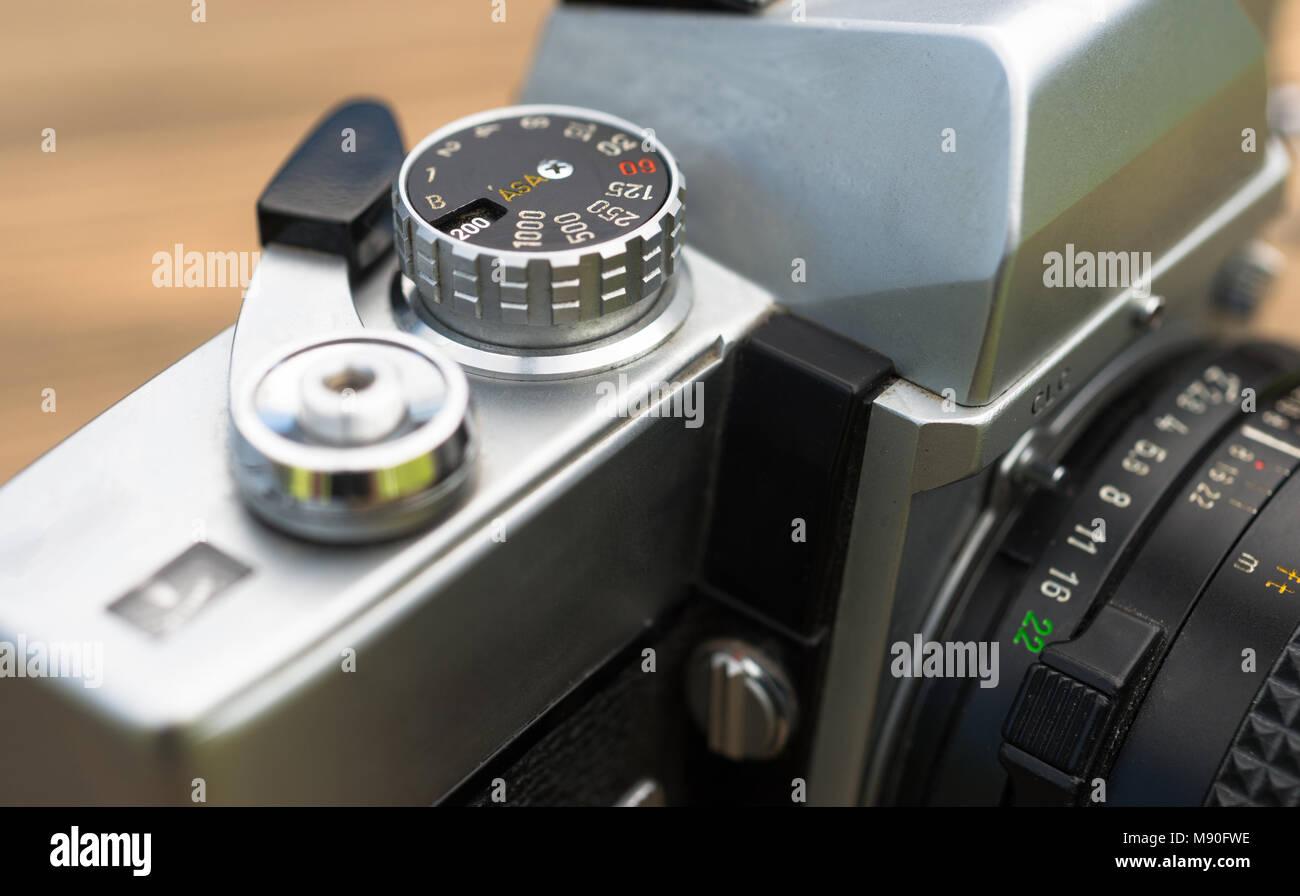 Close up macro view vintage manual focus and wind SLR camera - Stock Image