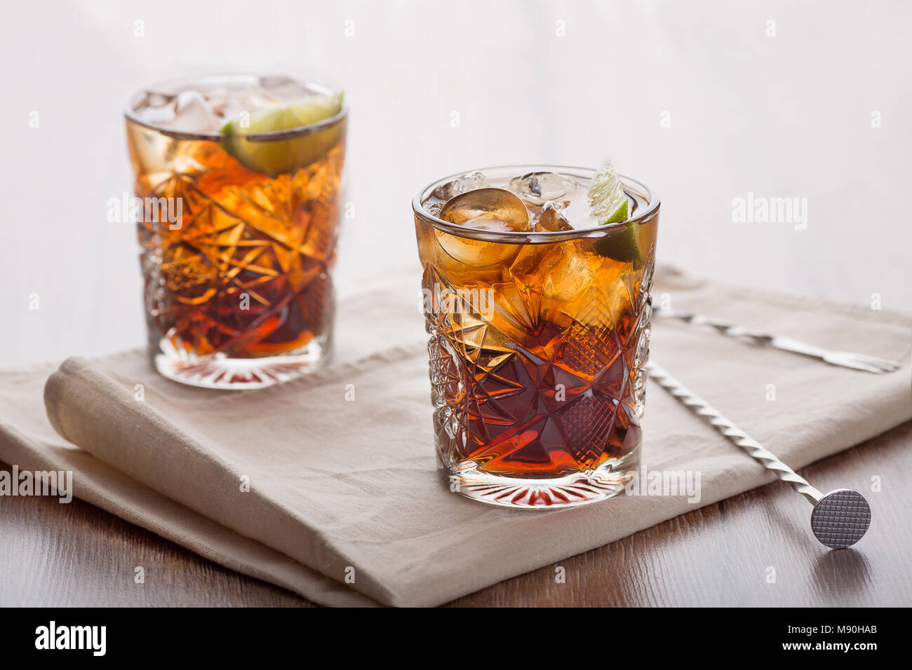 Invigorating cocktails in a light room - Stock Image