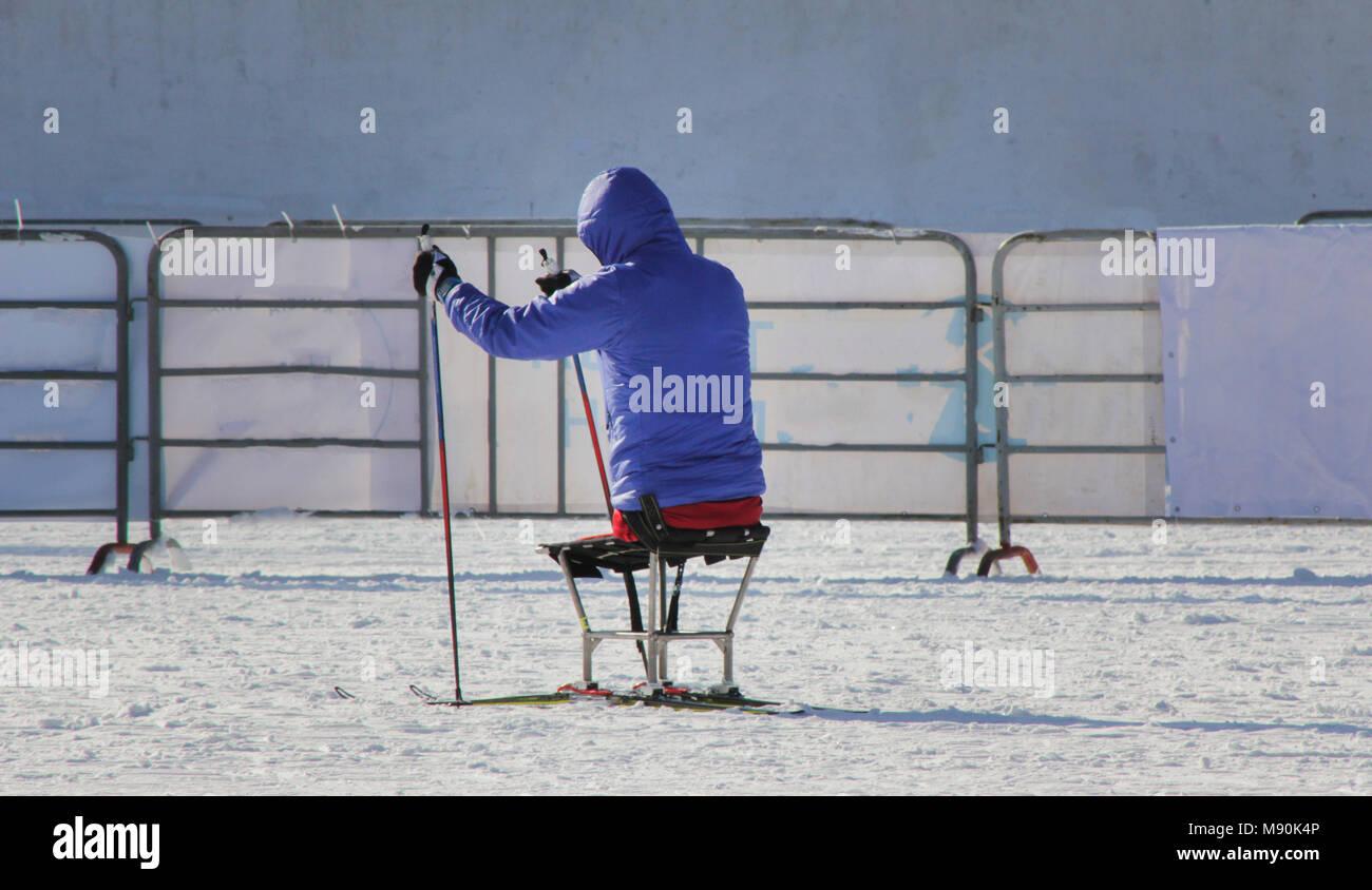 Disabled participant on ski track on ski marathon - Stock Image