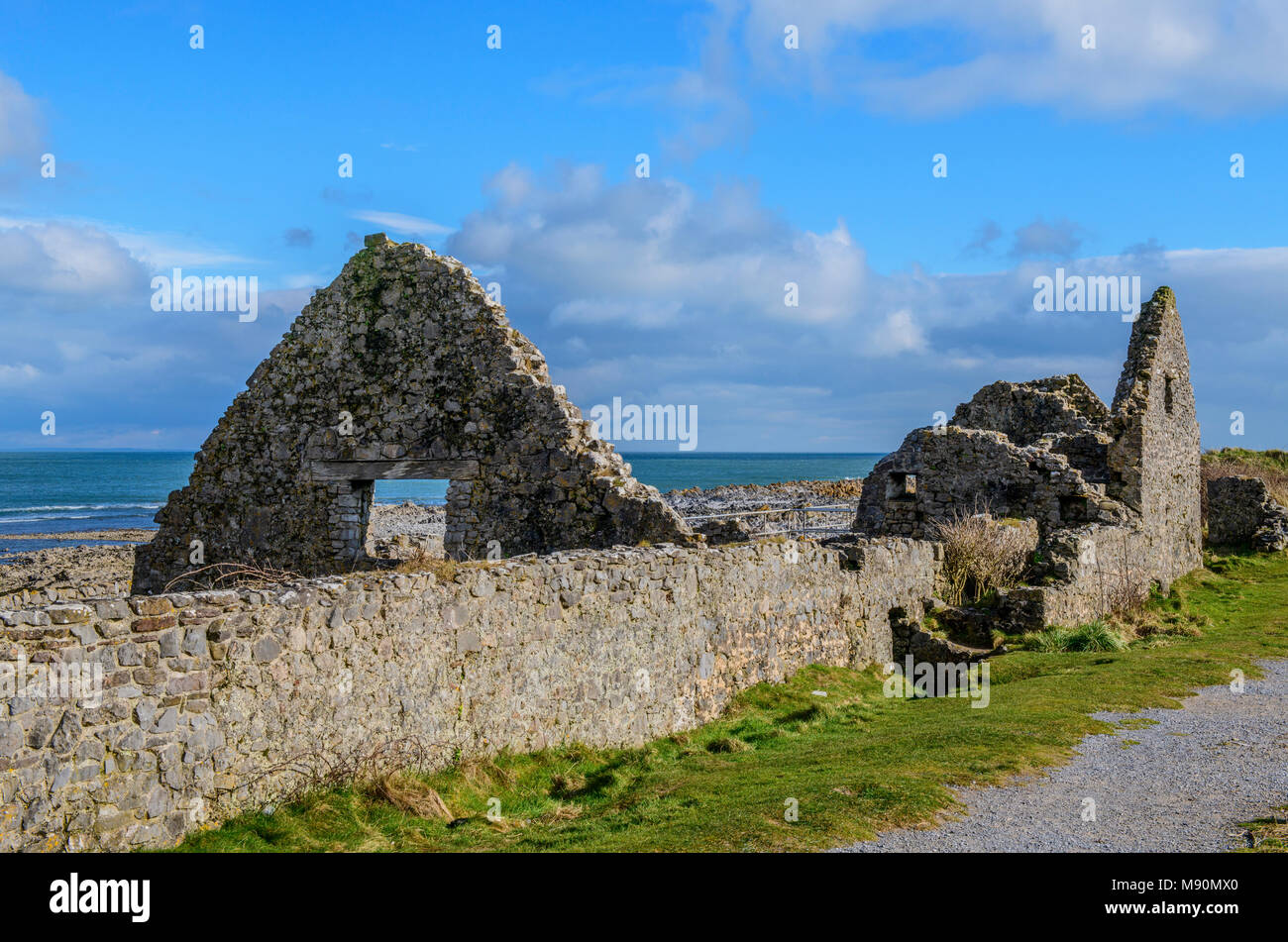 The ruins of the Salt Houses at Port Eynon Gower Peninsula south Wales - Stock Image
