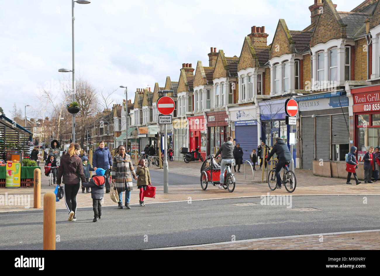 Francis Road, Wathamstow, London. A newly pedestrianised street. Vehicle restrictions installed as part of the new cycle-friendly Mini-Holland scheme. - Stock Image