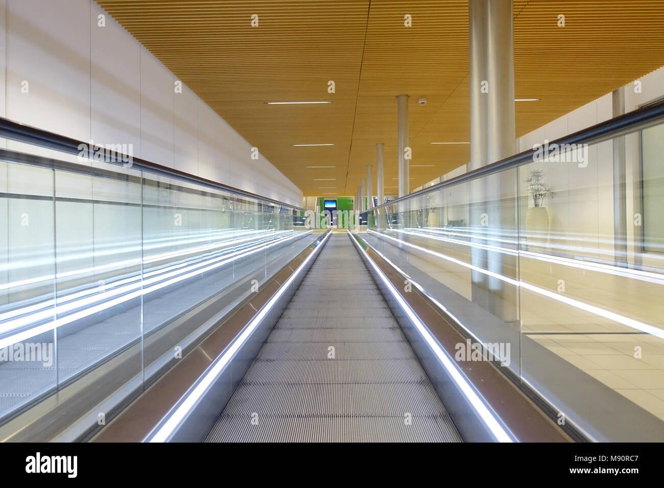 Roissy Charles de Gaulle airport.  Escalator. France. - Stock Image