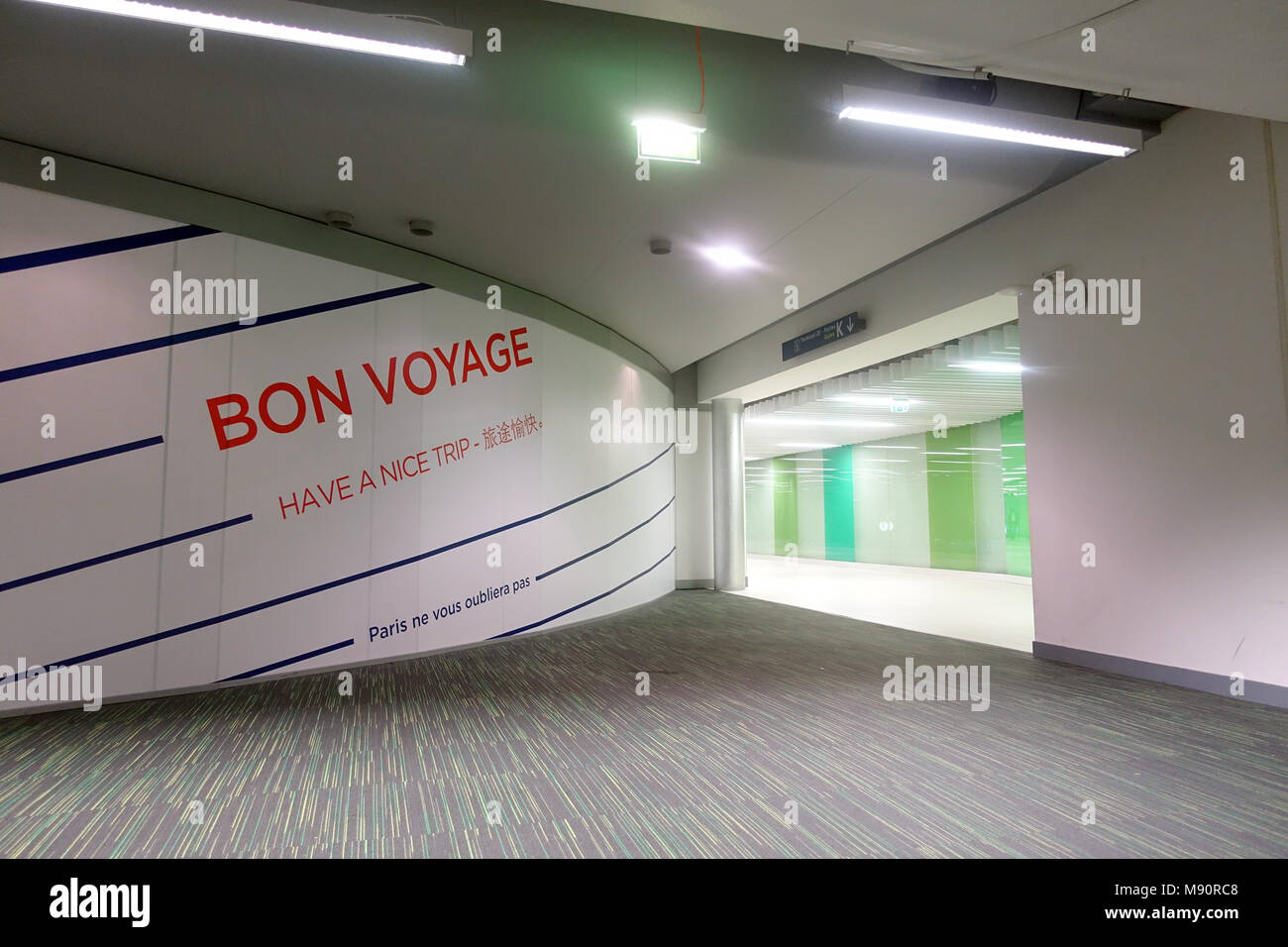 Roissy Charles de Gaulle airport. Bon voyage sign.  France. - Stock Image