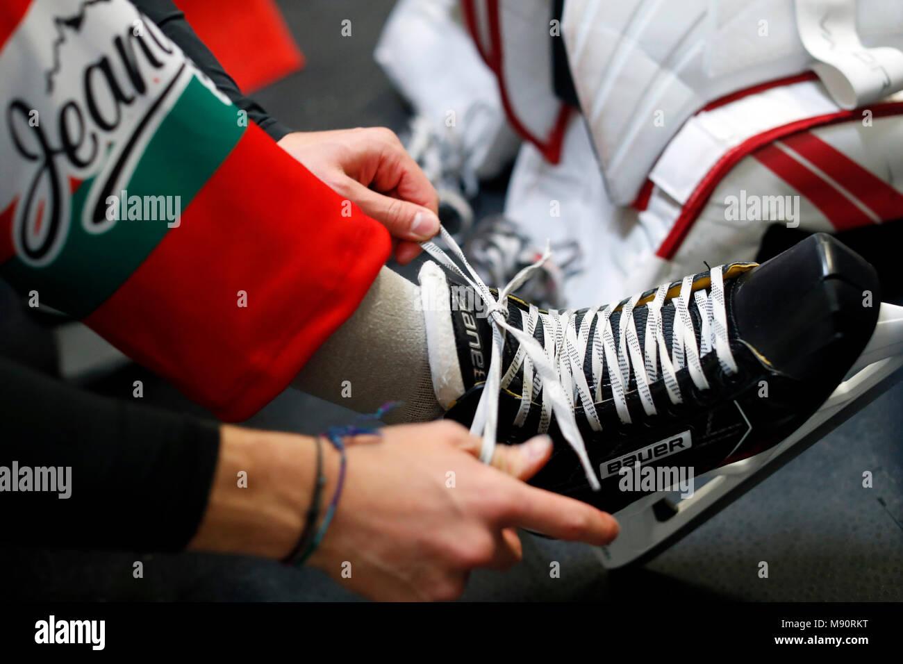 Ice Hockey. Locker room. Ice skate. - Stock Image