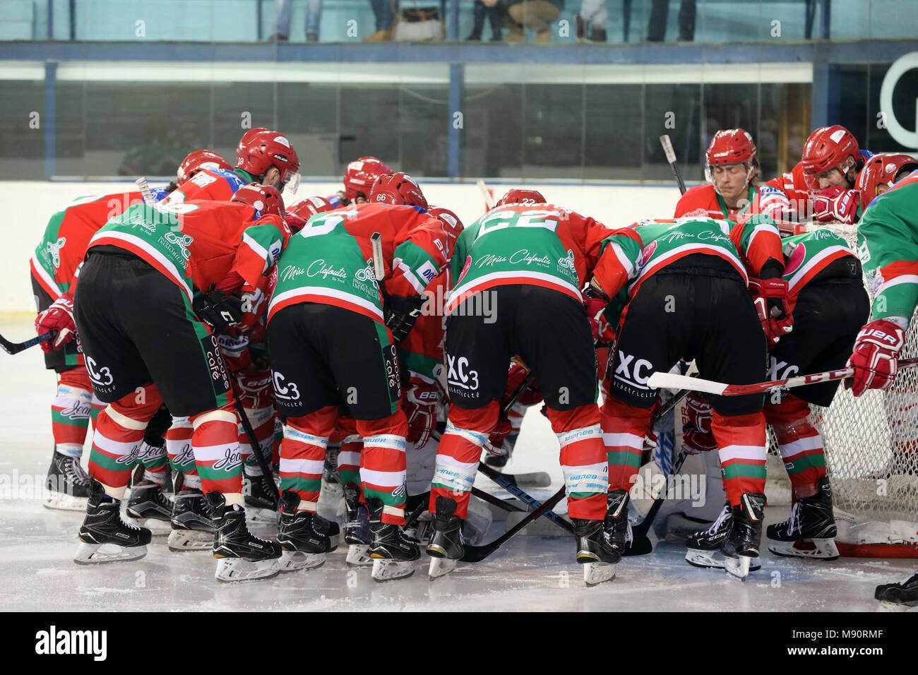 Ice Hockey match.  Hockey team. HC Mont-Blanc. - Stock Image