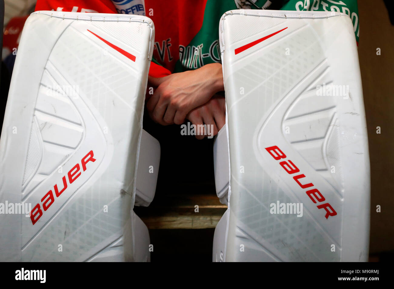 Ice Hockey match.  Goal keeper. - Stock Image