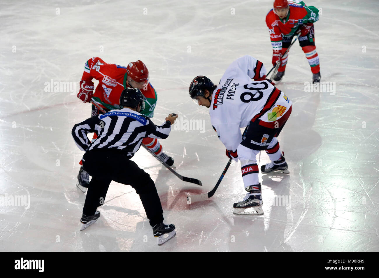 Ice Hockey match. Face off.  Players in action. - Stock Image