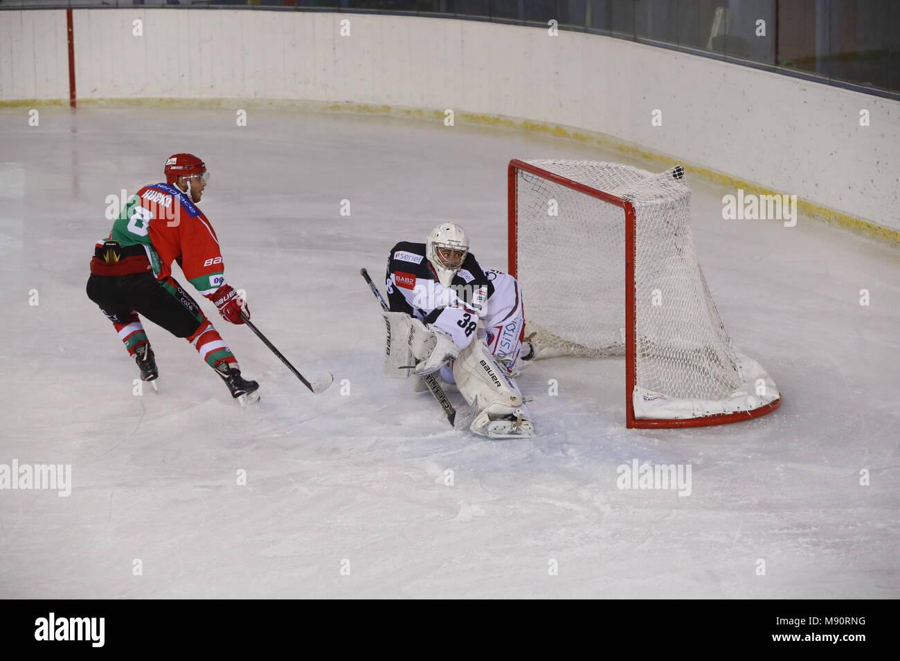 Ice Hockey match.  Hockey team. Goal. - Stock Image