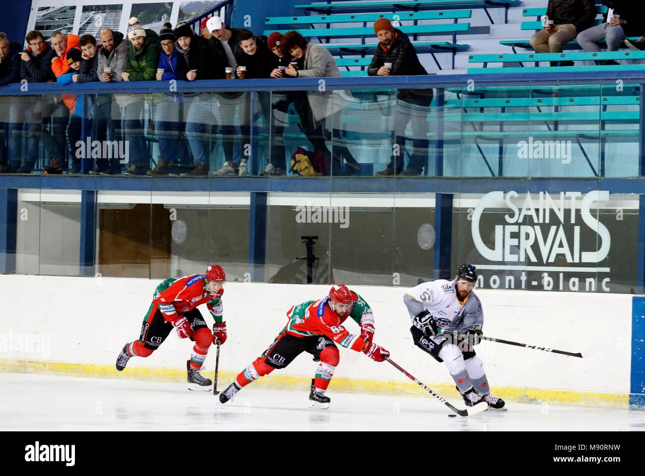 Ice Hockey.  Hockey team.  HC Mont-Blanc. - Stock Image