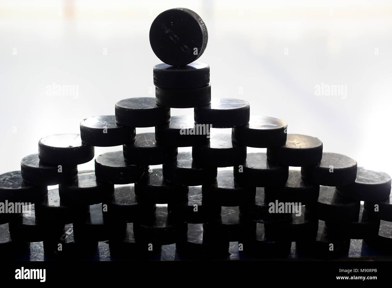 Ice Hockey Pucks. - Stock Image