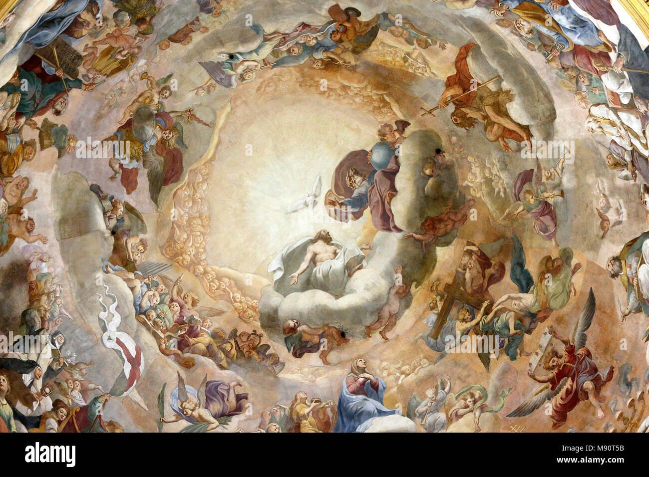 Notre-Dame du Val-de-Grace catholic church, Paris, France. Dome fresco. Stock Photo