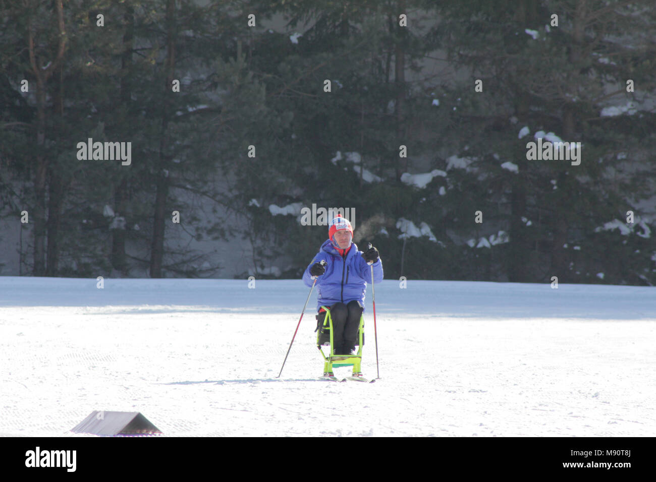 KAZAN, RUSSIA - MARCH, 2018: Disabled skier participant on ski-track on ski marathon - Stock Image