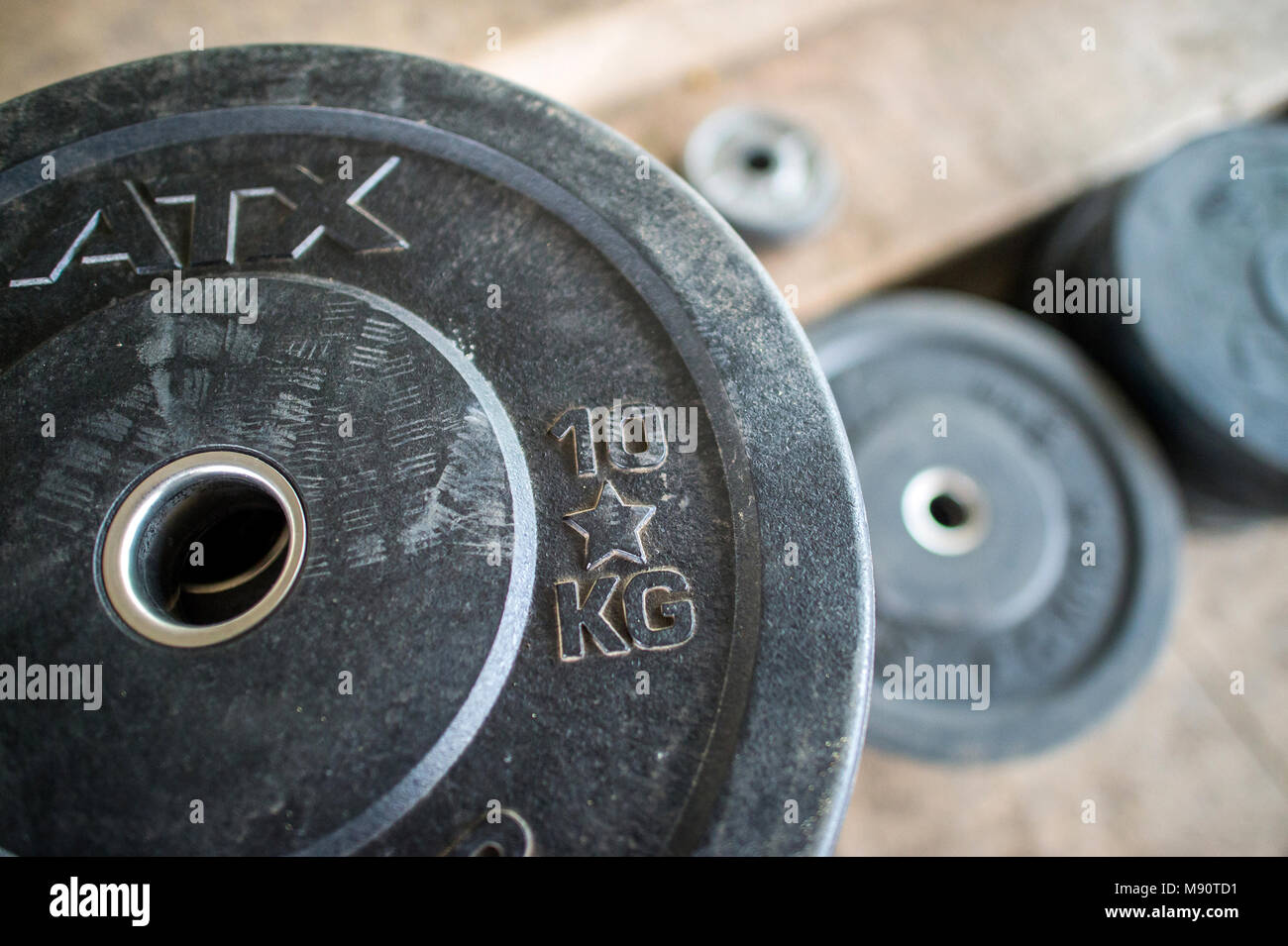 Gym weights. Paris. France. - Stock Image