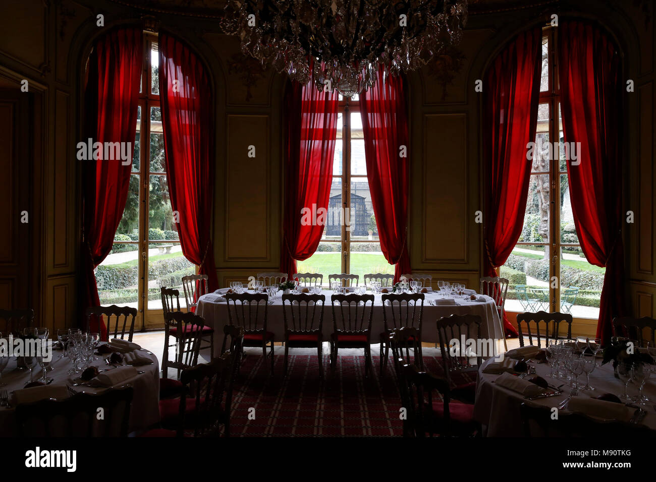 Private dining hall in Paris, France. - Stock Image