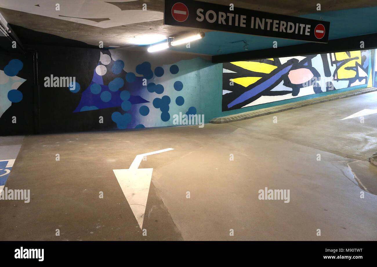 2 KM 3 Saint-Gervais Mont-Blanc contempory art platform. Street art.  Work realized by Roids MSK ( United Kingdom ). Stock Photo