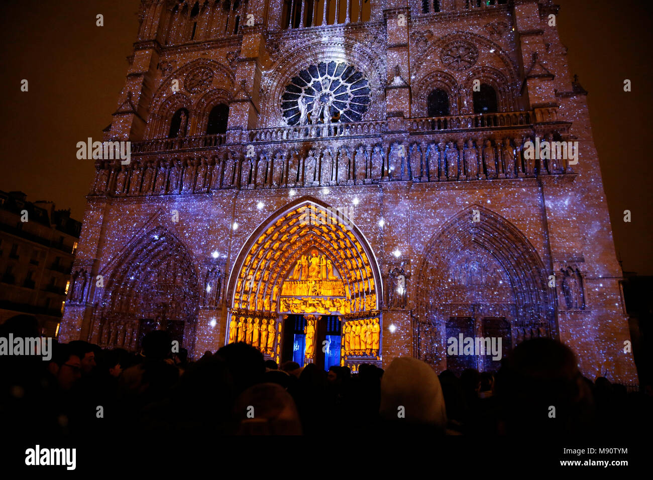 Sound and light show at Notre Dame de Paris cathedral, France. - Stock Image