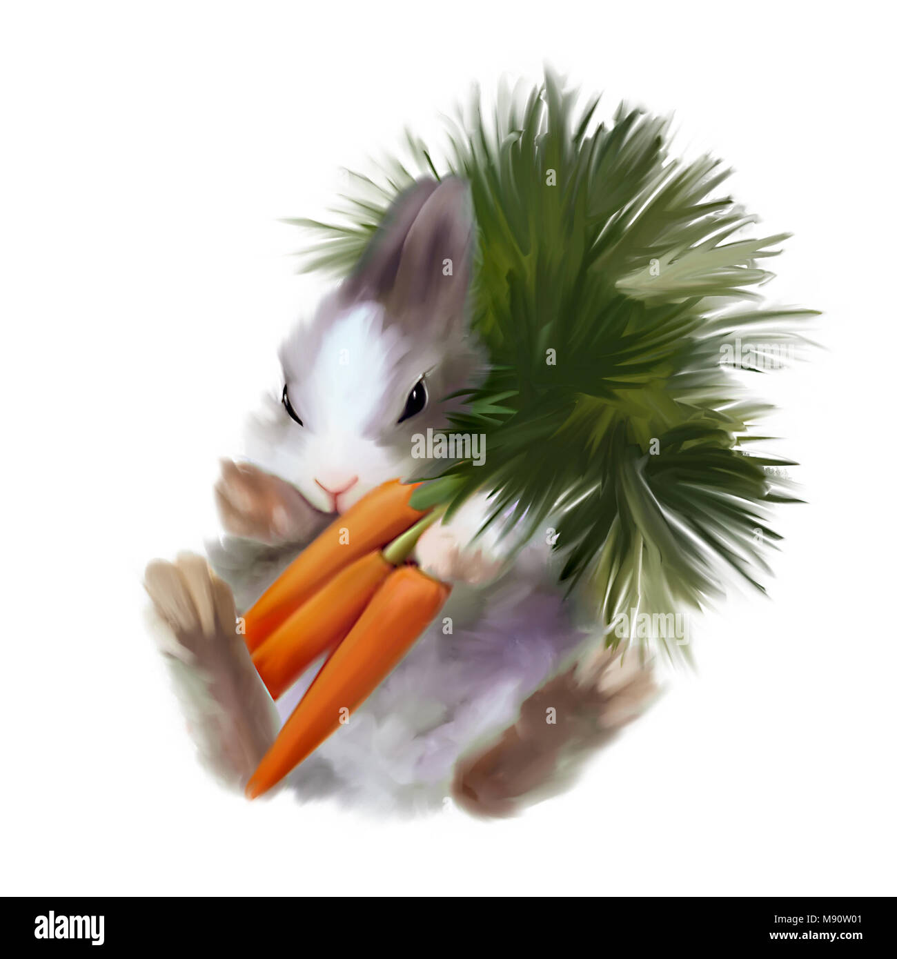 Fluffy bunny with bouquet of carrots. Cute illustration. - Stock Image