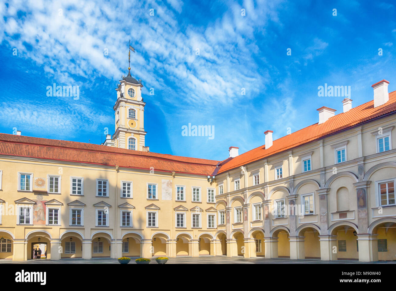 Vilnius University Courtyard and Observatory tower. Vilnius, Lithuania Stock Photo