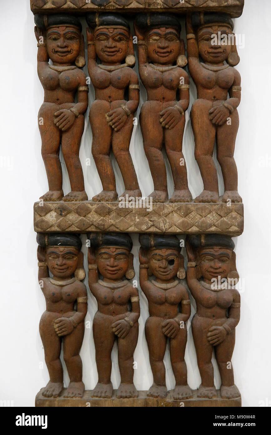National museum of India, Delhi. Chira Haran (Stealing of robes by Krishna). Kerala. 19th century. Wood. India. - Stock Image