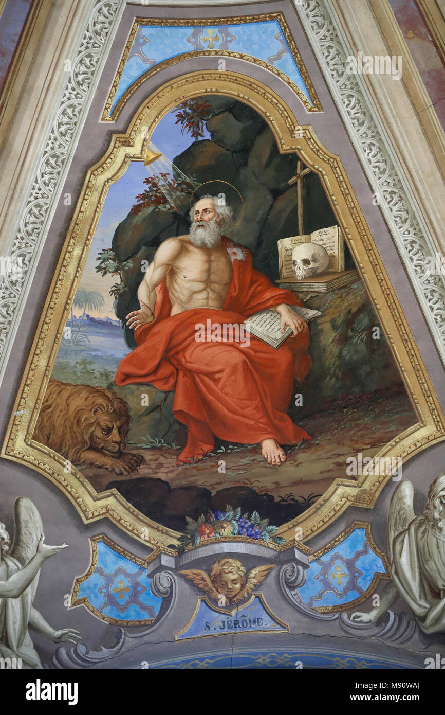 Saint-Grat church. Painting. St. Jerome in His Study. Valgrisenche. Italy. - Stock Image