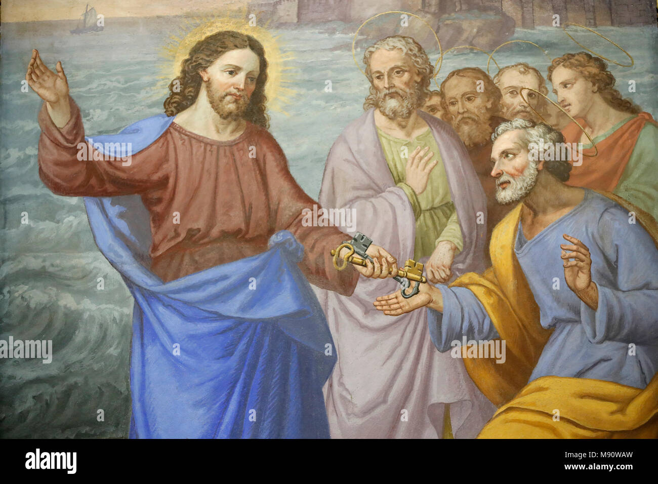 Saint-Grat church. Painting. Christ Handing the Keys to St Peter. Valgrisenche. Italy. - Stock Image