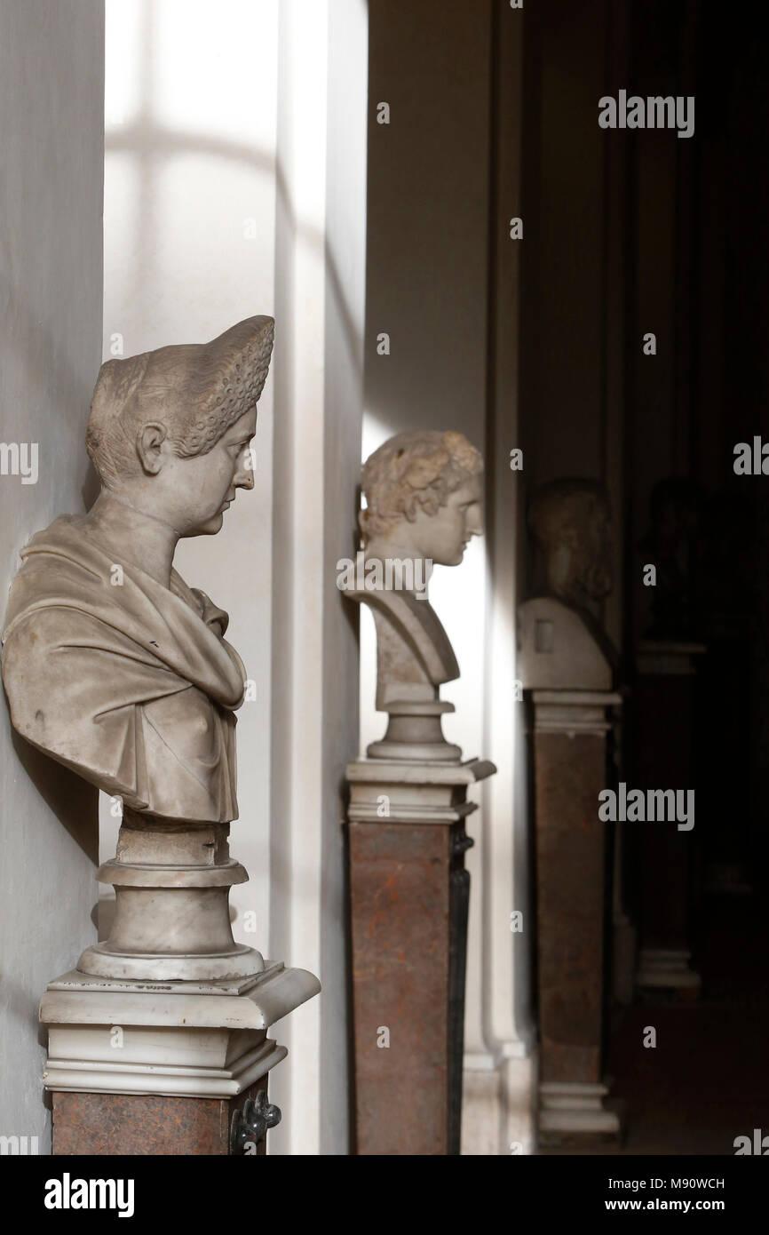 Corsini gallery, Rome. Italy. Busts. - Stock Image