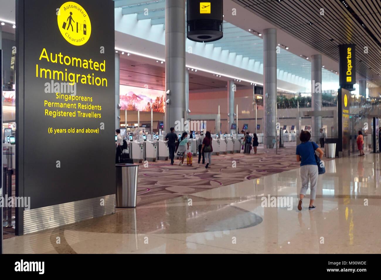 Changi airport. Automated immigration.  Singapore. - Stock Image
